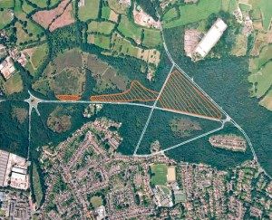 Aerial photograph of the areas to be felled north of Littlewick Road