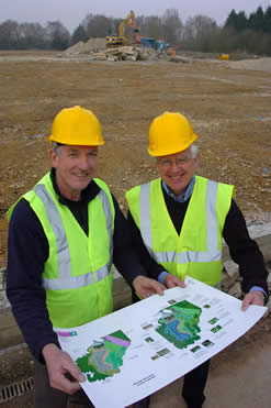 HCPS chairman David Robbins (right) reviews plans with Estate Manager Paul Rimmer Phograph: Graeme Larter (Woking News & Mail)