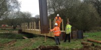 Building the new bridge across the Bourne on Horsell Common