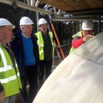 HCPS Chairman David Robbins (centre left) inspects the dome with Architect Jeremy Poll and staff from Universal Stone Ltd