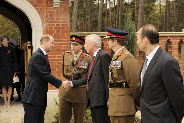 HRH The Earl of Wessex KG GCVO meets Col Andrew Barr MBE, Deputy Commandant RMAS; The Rt Hon Earl Howe PC, Defence Minister; and, Major General PAE Nanson CBE, Commandant, Royal Military Academy Sandhurst.