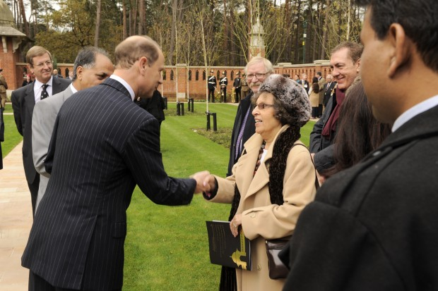 HRH The Earl of Wessex KG GCVO meets Sophena Alison Chisembele, daughter of Leading Aircraft Youssif Ali.