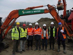 The Heather Farm team. L to R Paul Rimmer & Ron Neale (HCPS) Abraham Khan, Trevor Moss and Fiona Moore (Land & Water Ltd) David Naismith (WWT Consulting) and David Robbins, Chairman of HCPS.